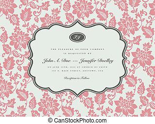 vector, roos, achtergrond, en, ornate kader