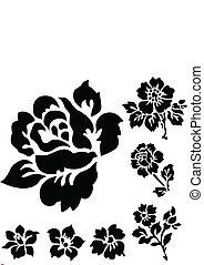 vector, roos, en, floral, iconen