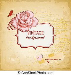 vector, roos, frame, illustratie, achtergrond, tekst, ouderwetse