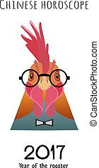 Vector Rooster Head in glasses, bowtie isolated. flat cartoon style