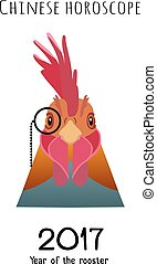 Vector Rooster Head in monocle isolated. flat cartoon style animal