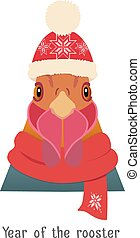 Vector Rooster Head in new year red hat, christmas lights
