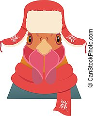 Vector rooster head in winter new year clothing hat , scarf