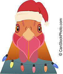Vector rooster head in winter new year clothing hood , scarf