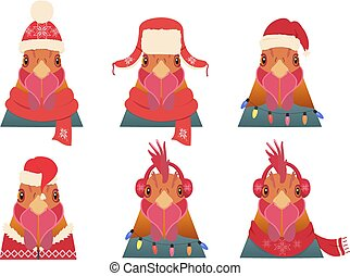 Vector Rooster Head set. Cartoon style, in winter, christmas...