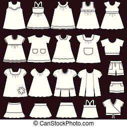 vector, ropas del bebé, girls., iconos
