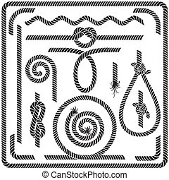 Vector Rope Design Elements - Set of Seamless Rope Design...