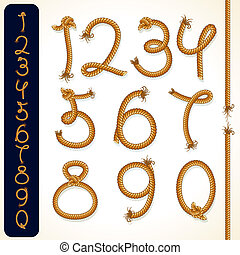 Vector Rope Numbers, collection of detailed design elements