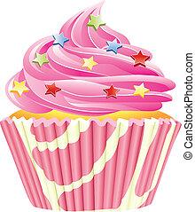 vector, rosa, cupcake