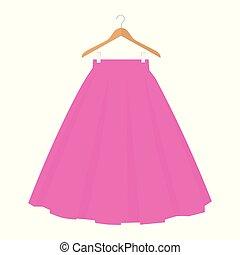 vector, rosa, falda, plantilla, diseño, moda, mujer, illustration., mujeres, burbuja, falda, en, percha
