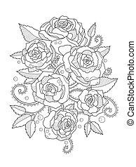 vector, rosas, colorido, adultos, libro