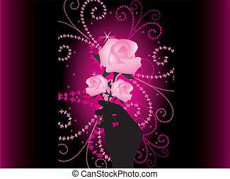 vector, rosas, en, mano