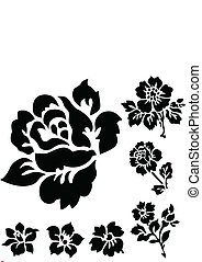 Vector Rose and Floral Icons - Set of vector floral...