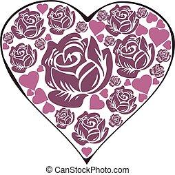 rose heart - vector rose heart