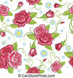 vector rose seamless background - the vector pink roses...