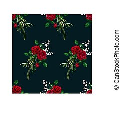 Vector Roses Seamless Pattern Card for Design