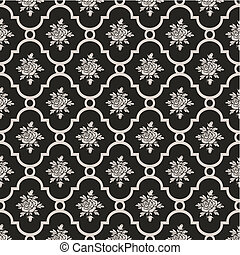 Vector roses seamless pattern on grey, repeating design, ...