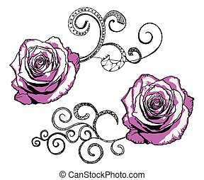 vector roses with flourishes isolated on white
