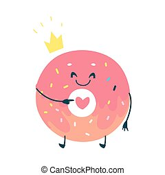 vector, rosquilla, dulce, humanized, rosa, carácter