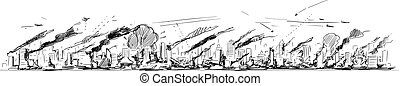 Vector Rough and Sketchy Cartoon Illustration of Long Horizontal City Skyline in war, Attack or Disaster. High Residential and Commercial Buildings in Fire.