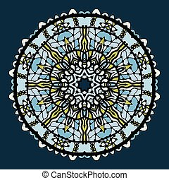 Vector round arabesque mandala background in shades of blue...
