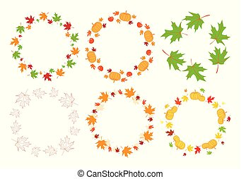 vector round autumn frames with maple leaves and pumpkins and apples