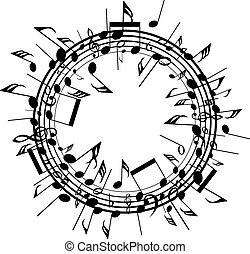 vector  round background with staves and music notes