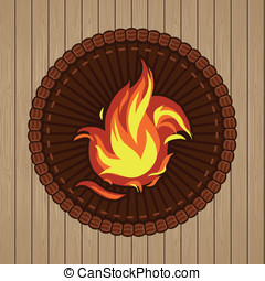 Vector round badge with fire icon