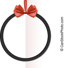 VECTOR round black frame with bow on folded paper background.