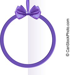 VECTOR round black frame with silk bow on folded paper background.