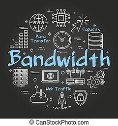 Vector round black internet concept of bandwidth