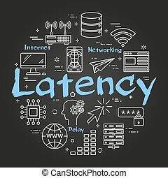Vector round black internet concept of latency
