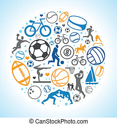 Vector round concept with sport icons and signs - healthy...
