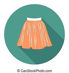 d25a21e65 Orange pencil skirt with belt flat vector icon. Orange pencil skirt ...