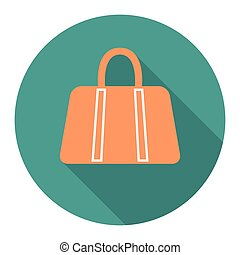 vector round flat icon with woman bag