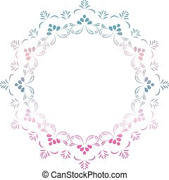 Vector round floral frame in blue and pink colors in mandala style for invitations, greeting cards and decorative designs