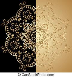 Vector illustration with vintage lace floral pattern. Gold and black.