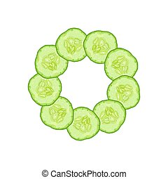 Vector round frame of cucumber slice on white background