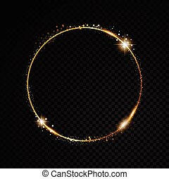 Vector round frame. Shining circle banner. Isolated on black...