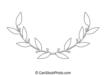 vector round frame with branch of ivy