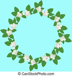 Vector round frame with colorful snowy berries and leaves. Template with place for text.Bright floral pattern.