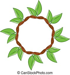 vector round frame with green leaves