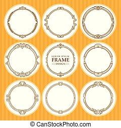 Vector round frames set design element