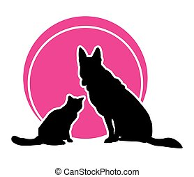 Vector round icon. Cat and dog on the background of magenta circle. Vector illustration