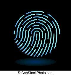 vector round icon fingerprint - symbol of finger in line art design on black background - neon blue cyan color