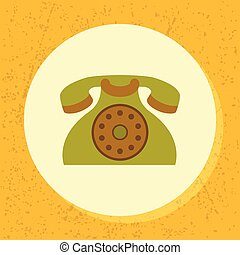 vector round icon old retro green telephone symbol of contact us, support, phone in flat design on grunge paper background