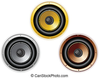 Round Isolated Sound Speaker. Set of 3 colors - Vector -...