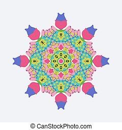 Vector round ornament bright colors.