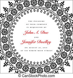 Vector Round Ornate Wedding Frame