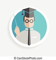 Vector round paper icon successful man researcher with pointer, square academic cap flat design style for business, research, teaching school or college, work, market research, search right decisions
